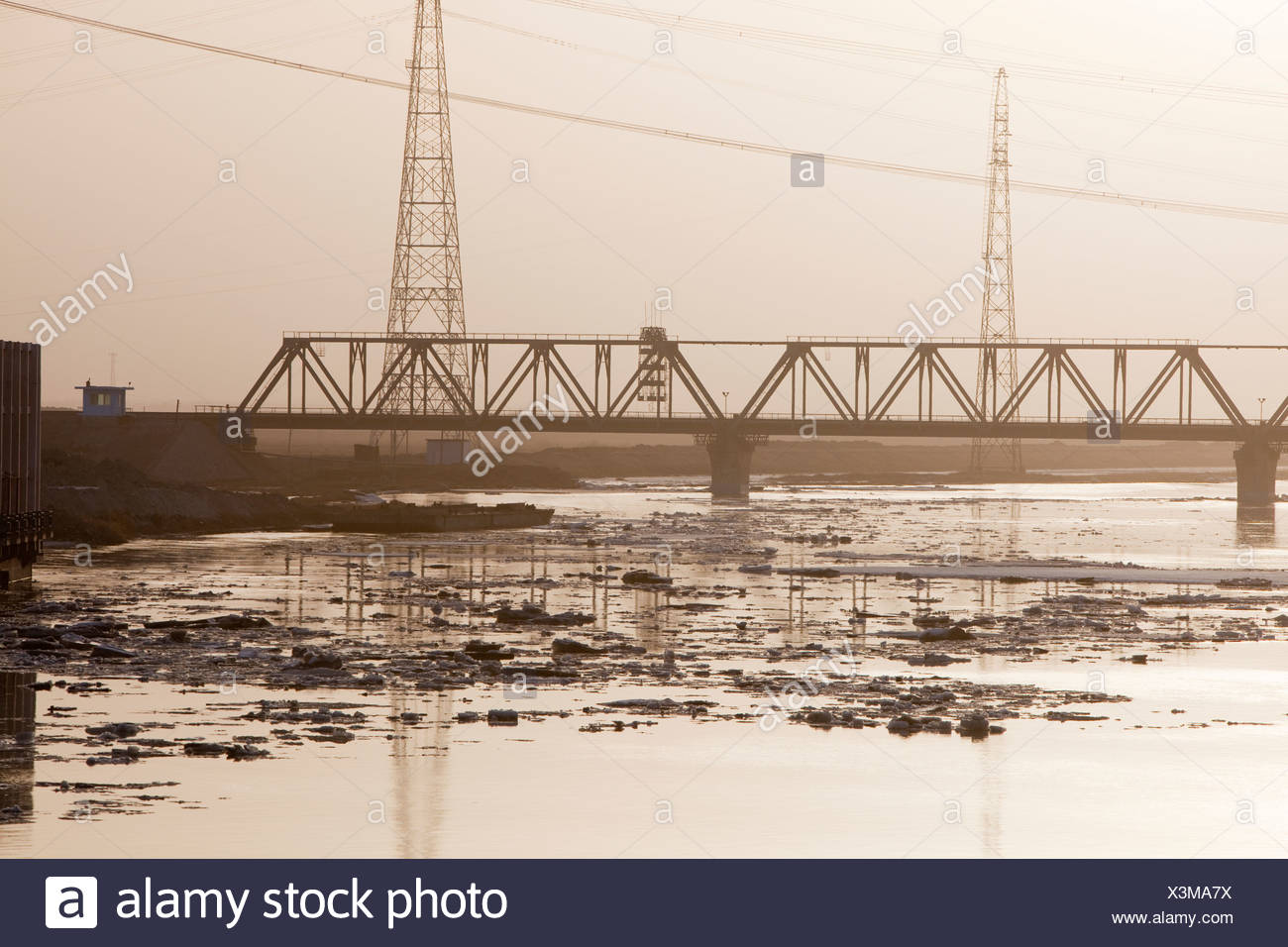 Ice breaking up in spring on the Yellow River in northern China Stock Photo
