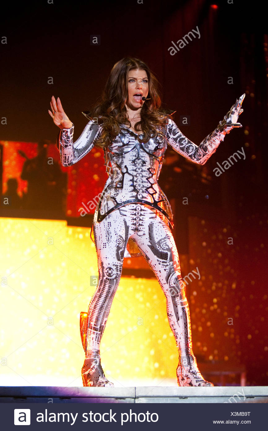 Singer Stacy Ann Ferguson, Fergie, of the U.S. Hip-Hop band The Black Eyed Peas live at the Hallenstadion Oerlikon stadium - Stock Image