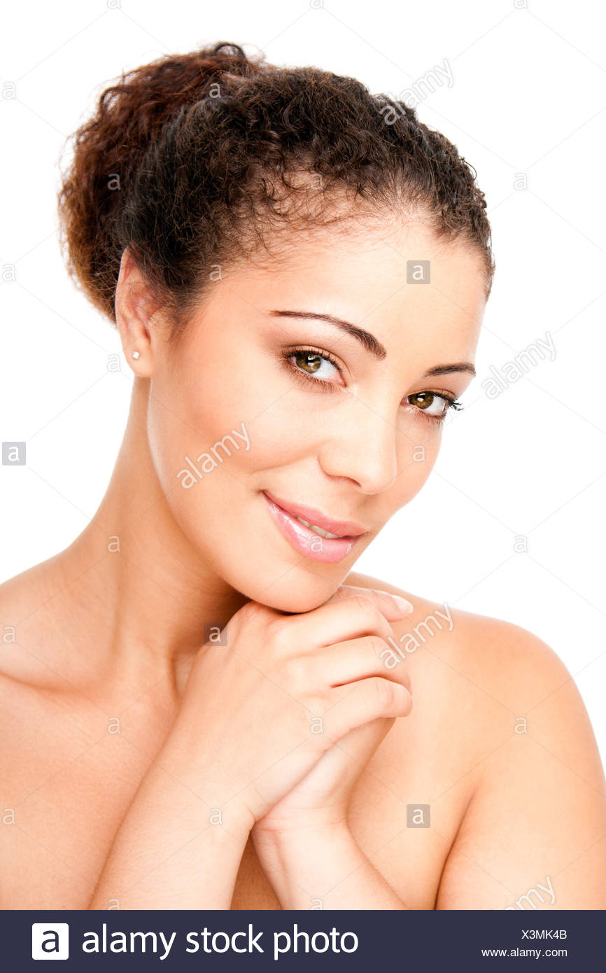 Skincare concept - Beautiful young woman face with pimple acne free clear skin, isolated. - Stock Image