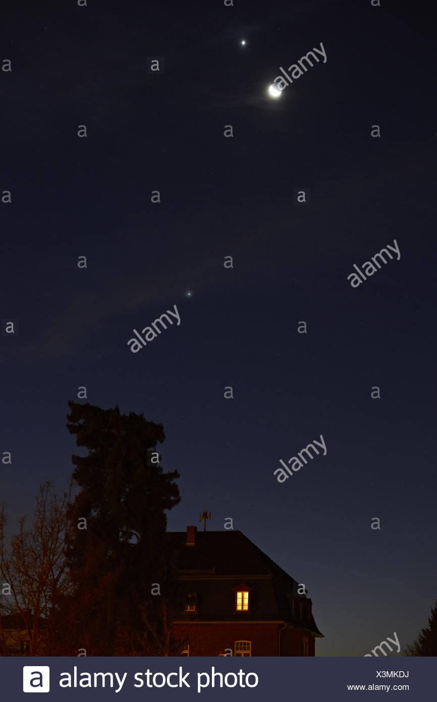 Venus, Jupiter and Moon Conjunction - Stock Image