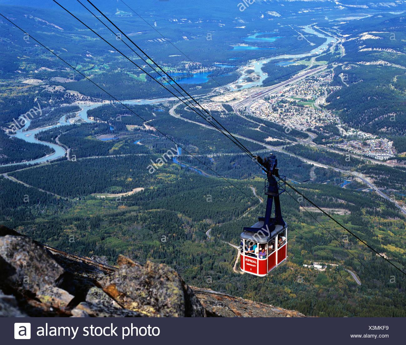 Jasper Tramway, gondola, cablecar, Jasper, Alberta, Canada - Stock Image