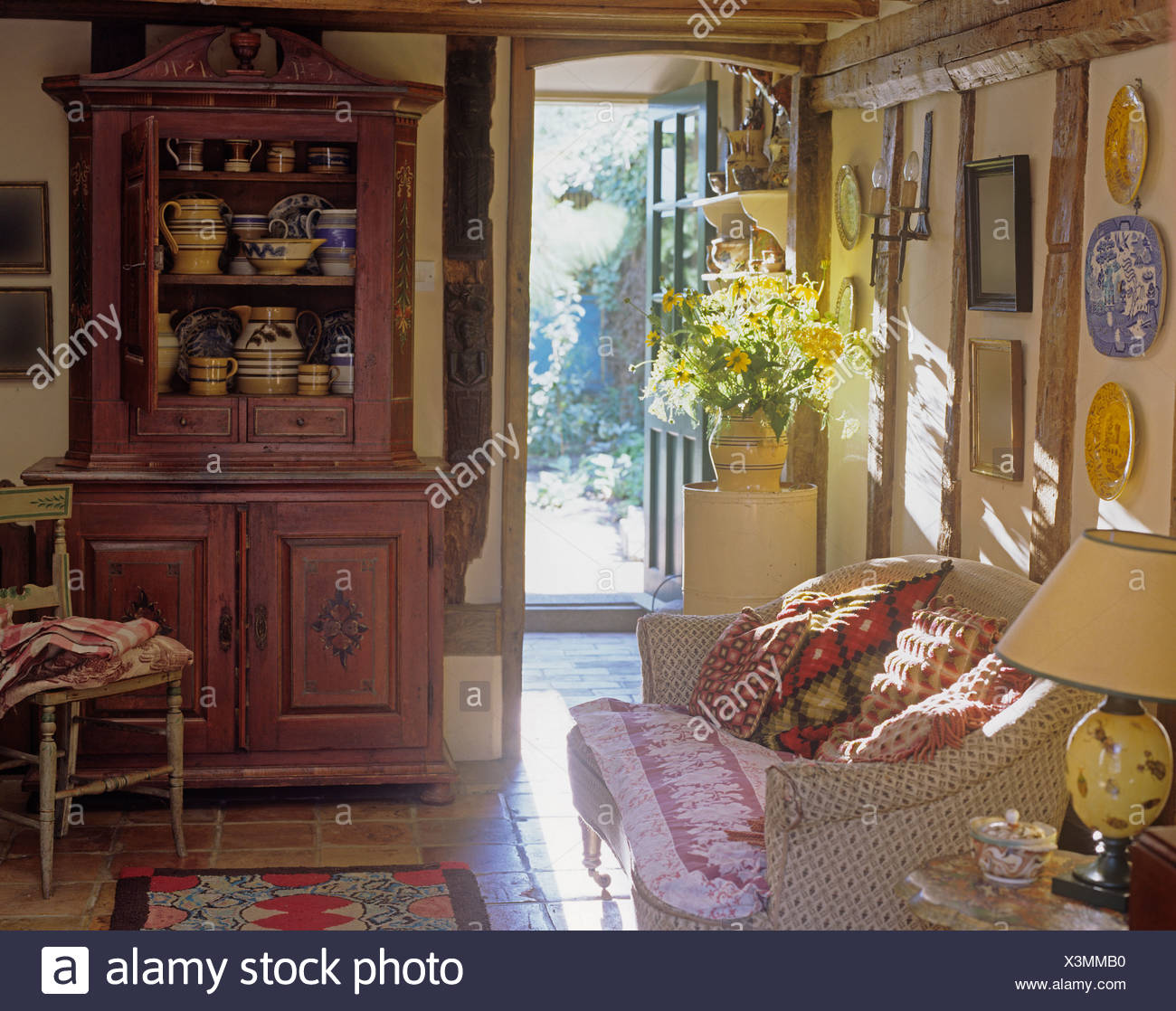 Outstanding Painted Pine Dresser And Floral Sofa Piled With Cushions In Cjindustries Chair Design For Home Cjindustriesco