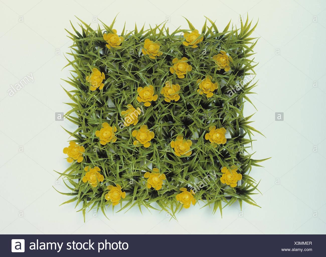 Art turfs, blossoms, yellow turf, meadow, artificially, flowers, flower heads, adornment, Deko, decoration, Dekorasen, Dekoblumen, decoration object, product photography, Still life, cut out - Stock Image