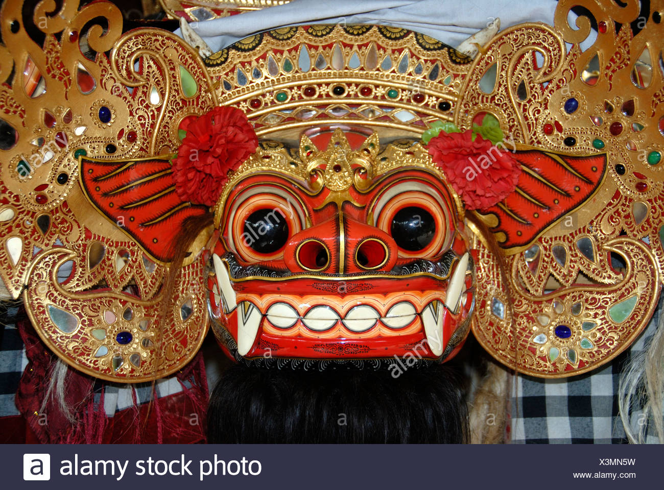 Arts and culture, Barong mask, mystical mythical creature, Ubud, Bali, Indonesia, Southeast Asia, Asia Stock Photo