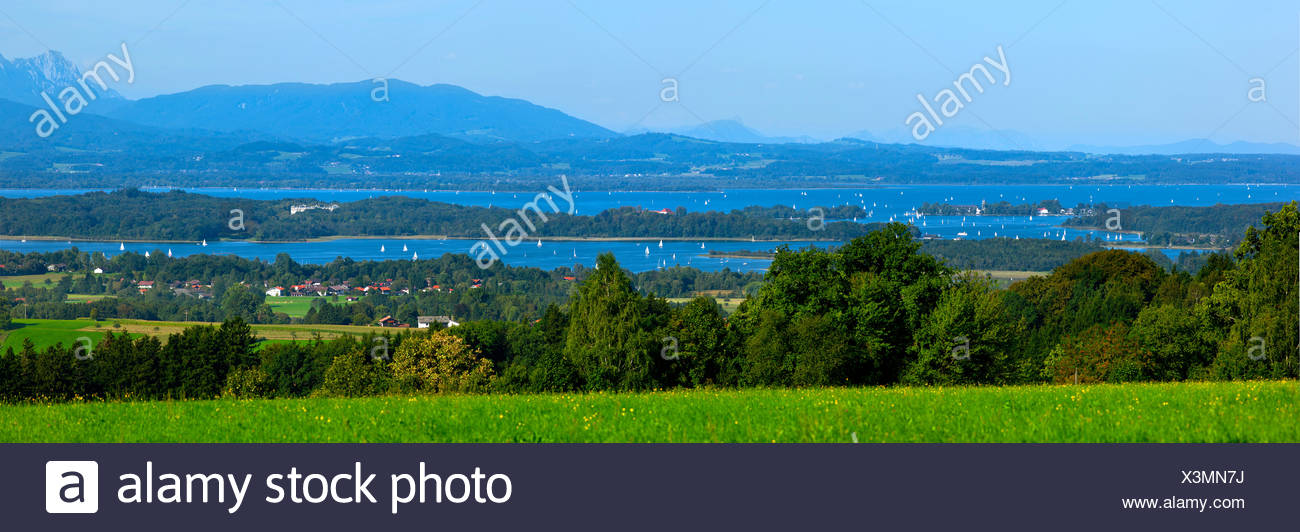 View from Ratzinger Hoehe over lake Chiemsee and Fraueninsel, Chiemgau, Upper Bavaria, Germany - Stock Image