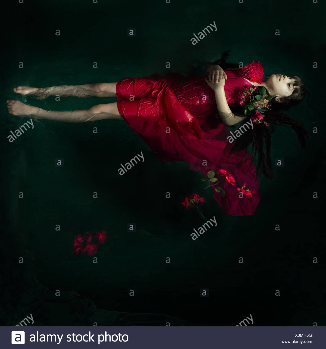 Girl in a red dress floating in water with red roses - Stock Image