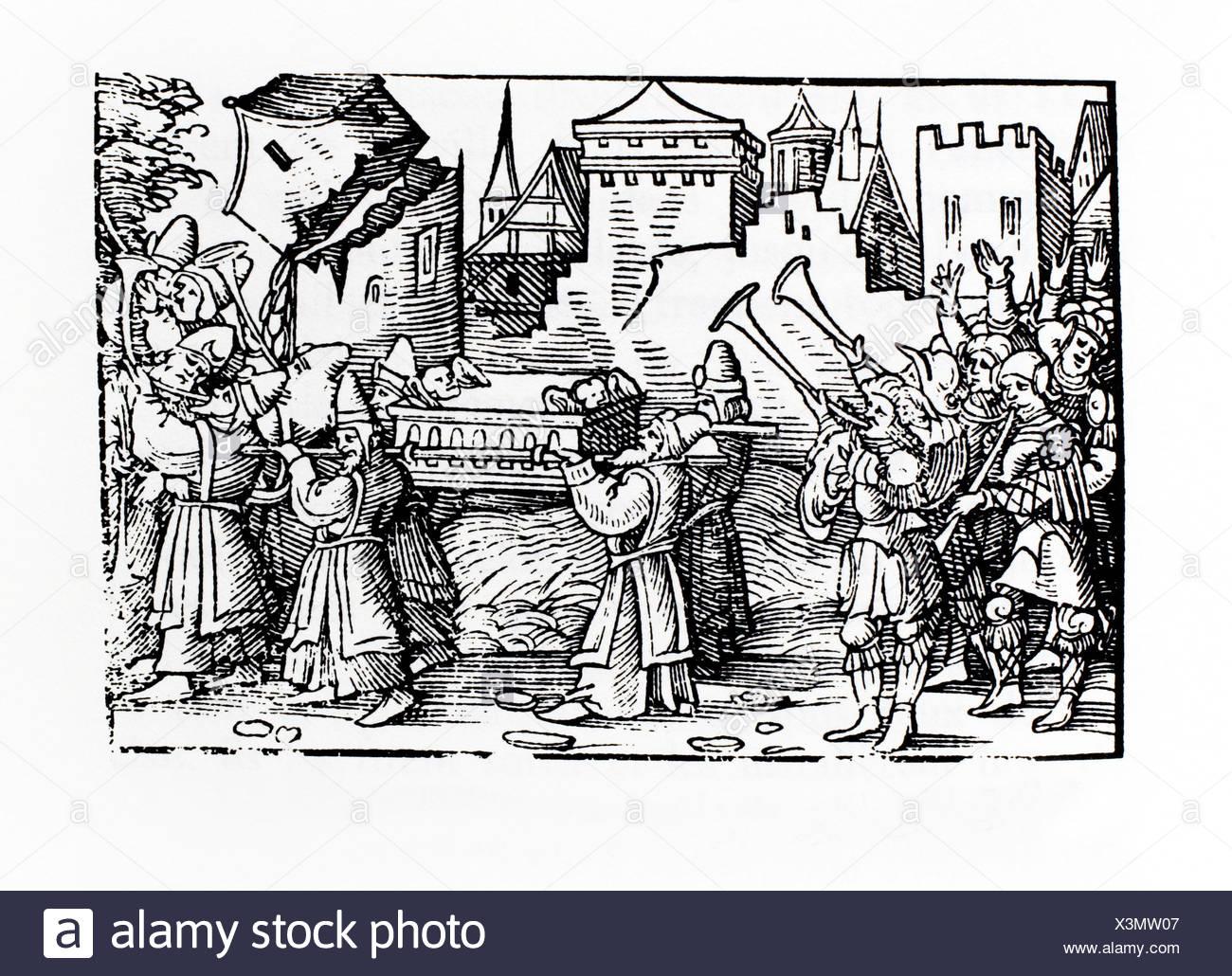Entering in Jericho. German Bible. Nuremberg, 1524. - Stock Image