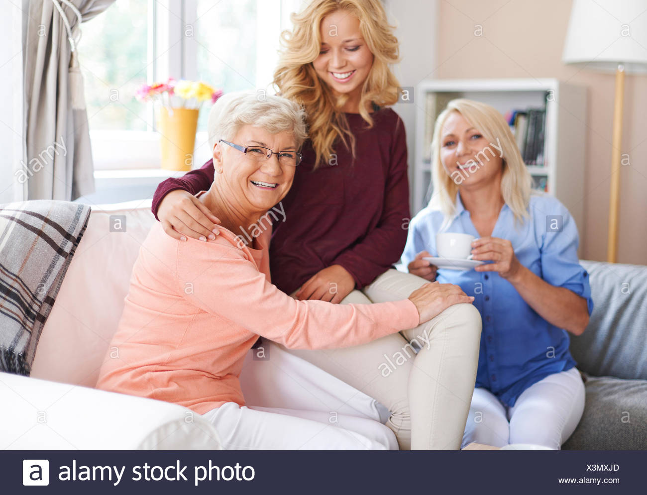 I'm happy when I can host my family. Debica, Poland - Stock Image