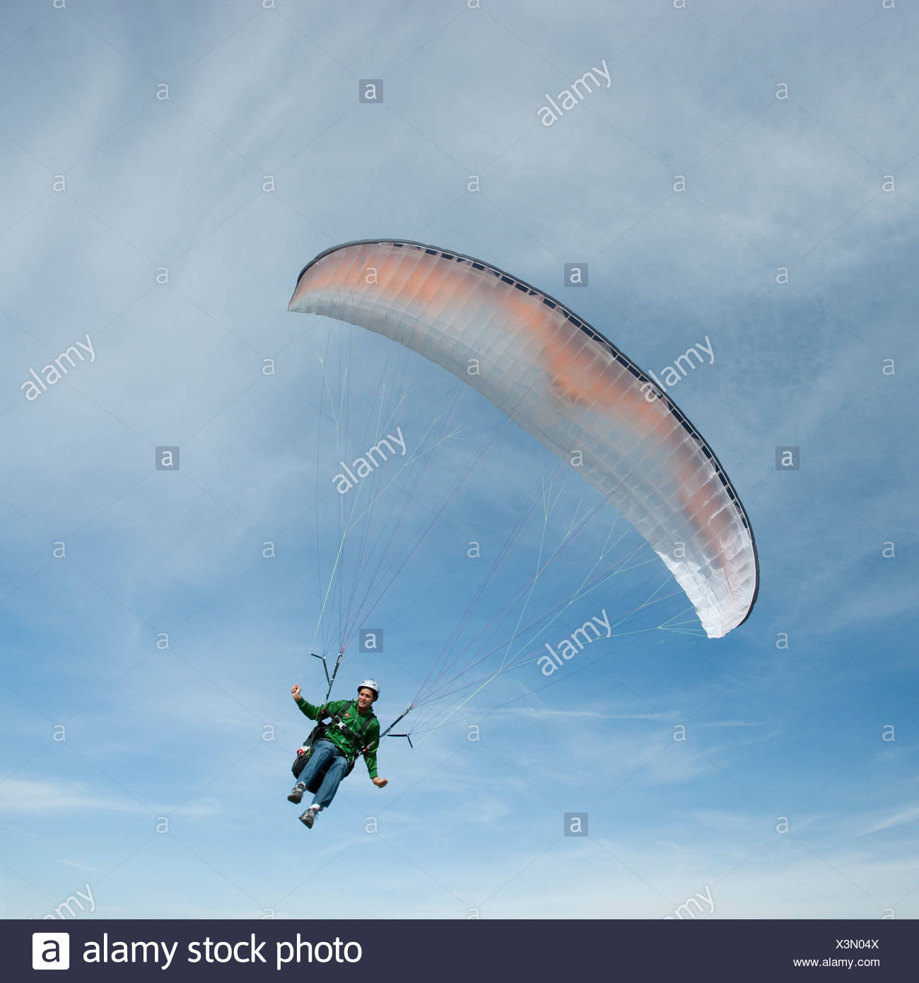 USA, Utah, Lehi, low angle view of young paraglider - Stock Image