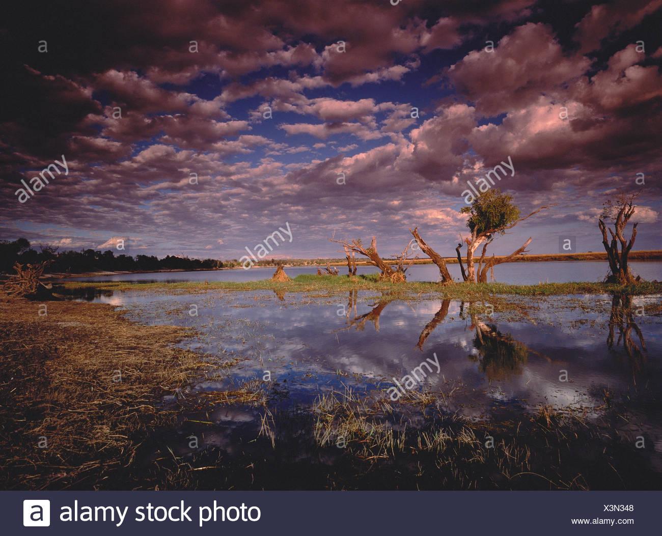 Chobe River and Cloudy Sky Botswana, Africa - Stock Image