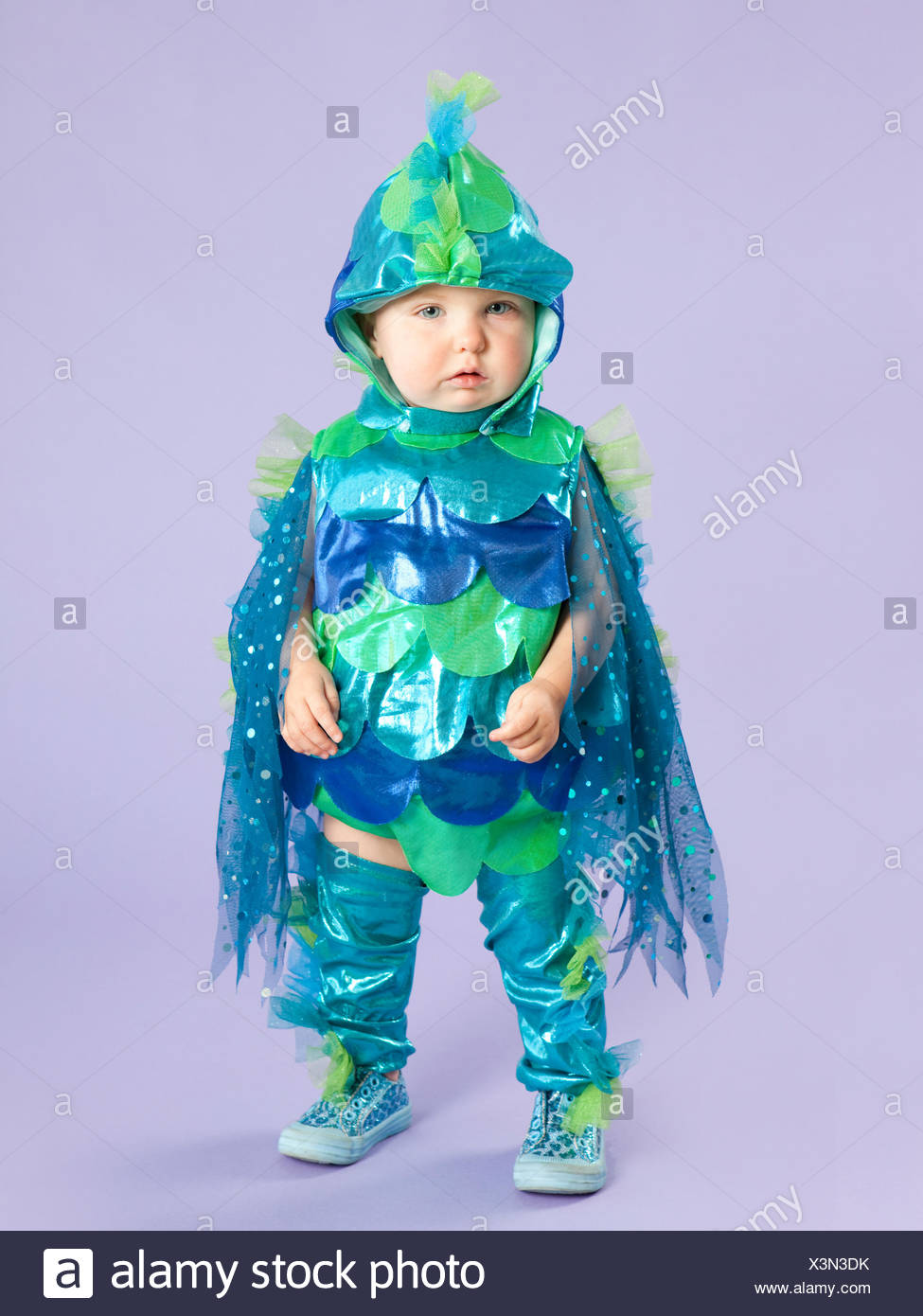 Portrait Of Baby Girl 12 17 Months In Fish Costume For Halloween