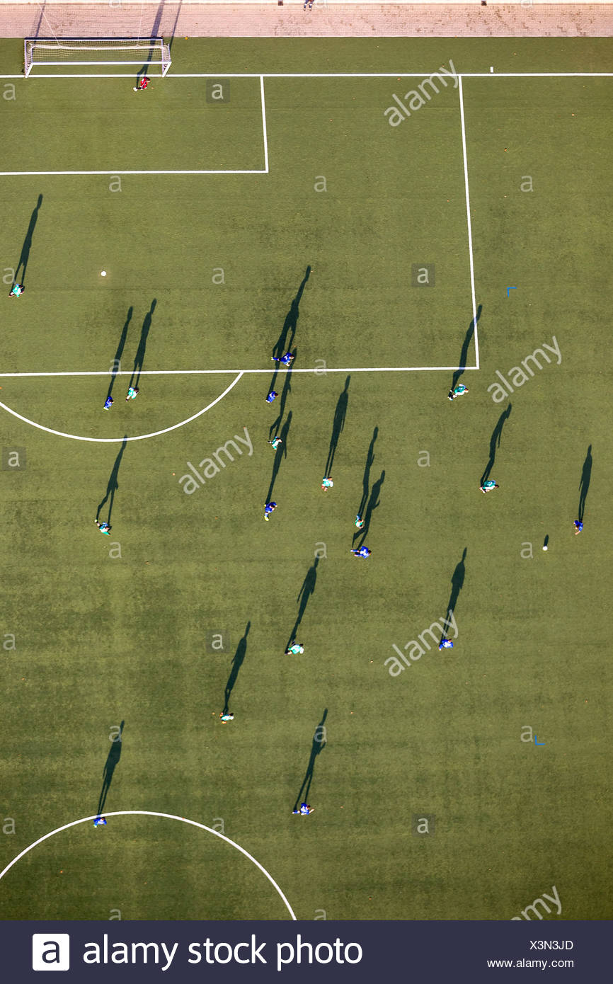 Aerial view, astro turf football pitch, Mülheim an der Ruhr, Ruhr area, North Rhine-Westphalia, Germany - Stock Image
