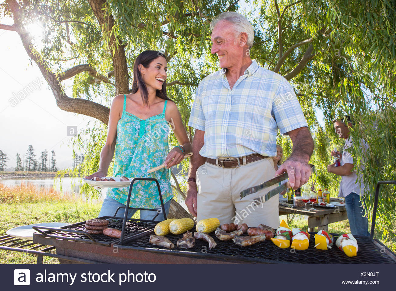 Adult Family Group Cooking Barbeque In Countryside - Stock Image