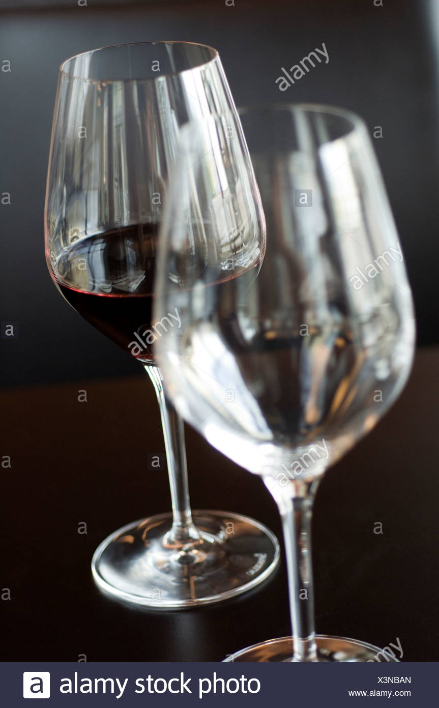 View of two wine glasses with red wine, close-up - Stock Image