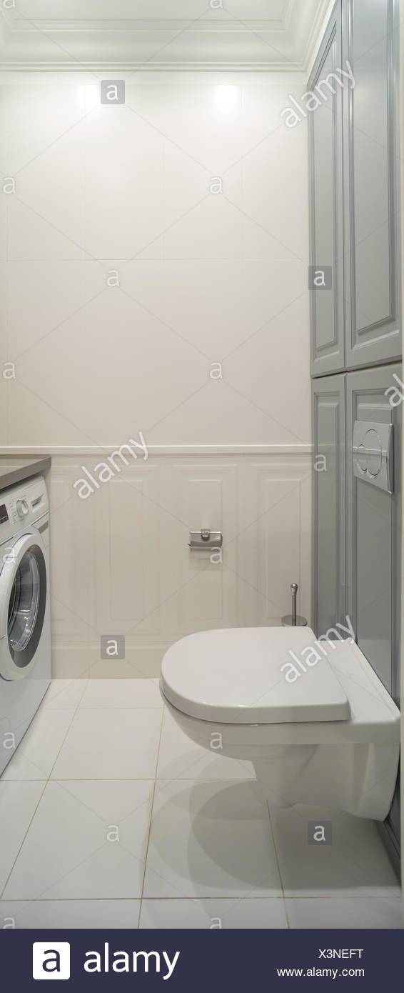 white wc washing machine - Stock Image