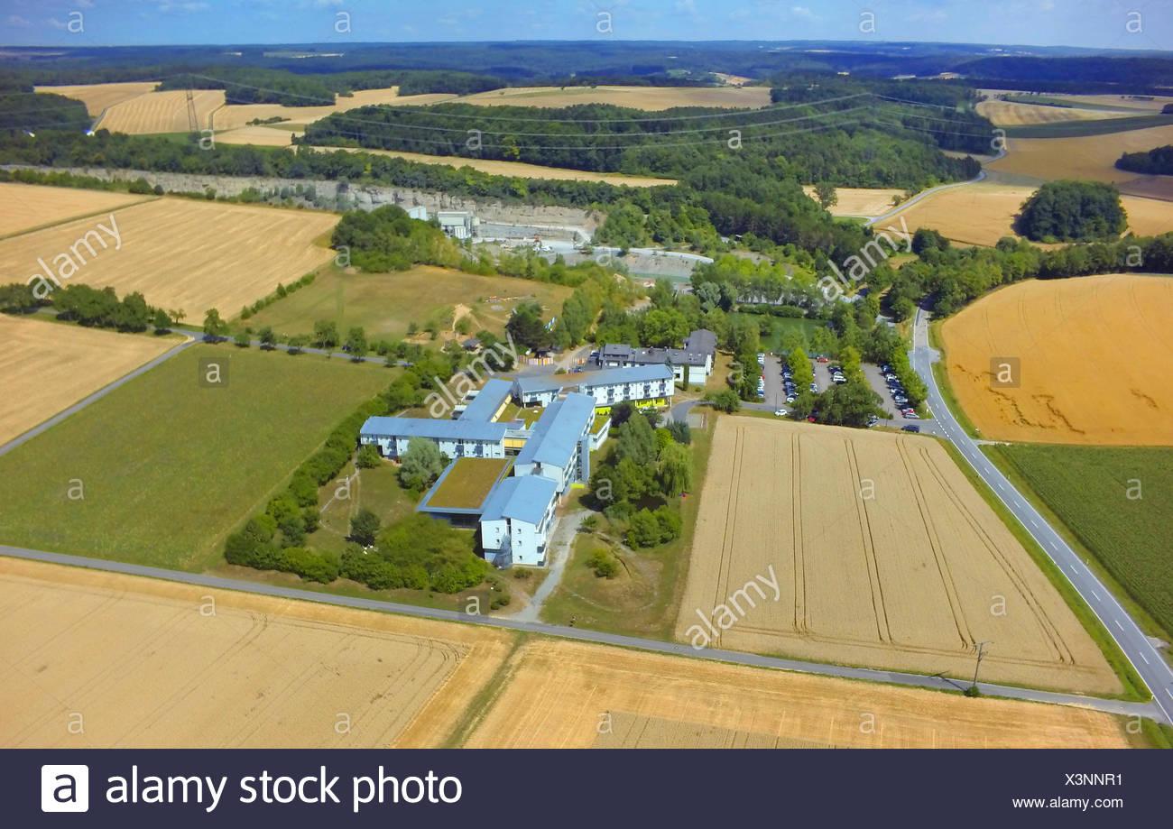 spa house Gesundheitszentrum An der Hoehle near Eberstadt, 23.07.2015, aerial view , Germany, Baden-Wuerttemberg, Odenwald, Eberstadt - Stock Image