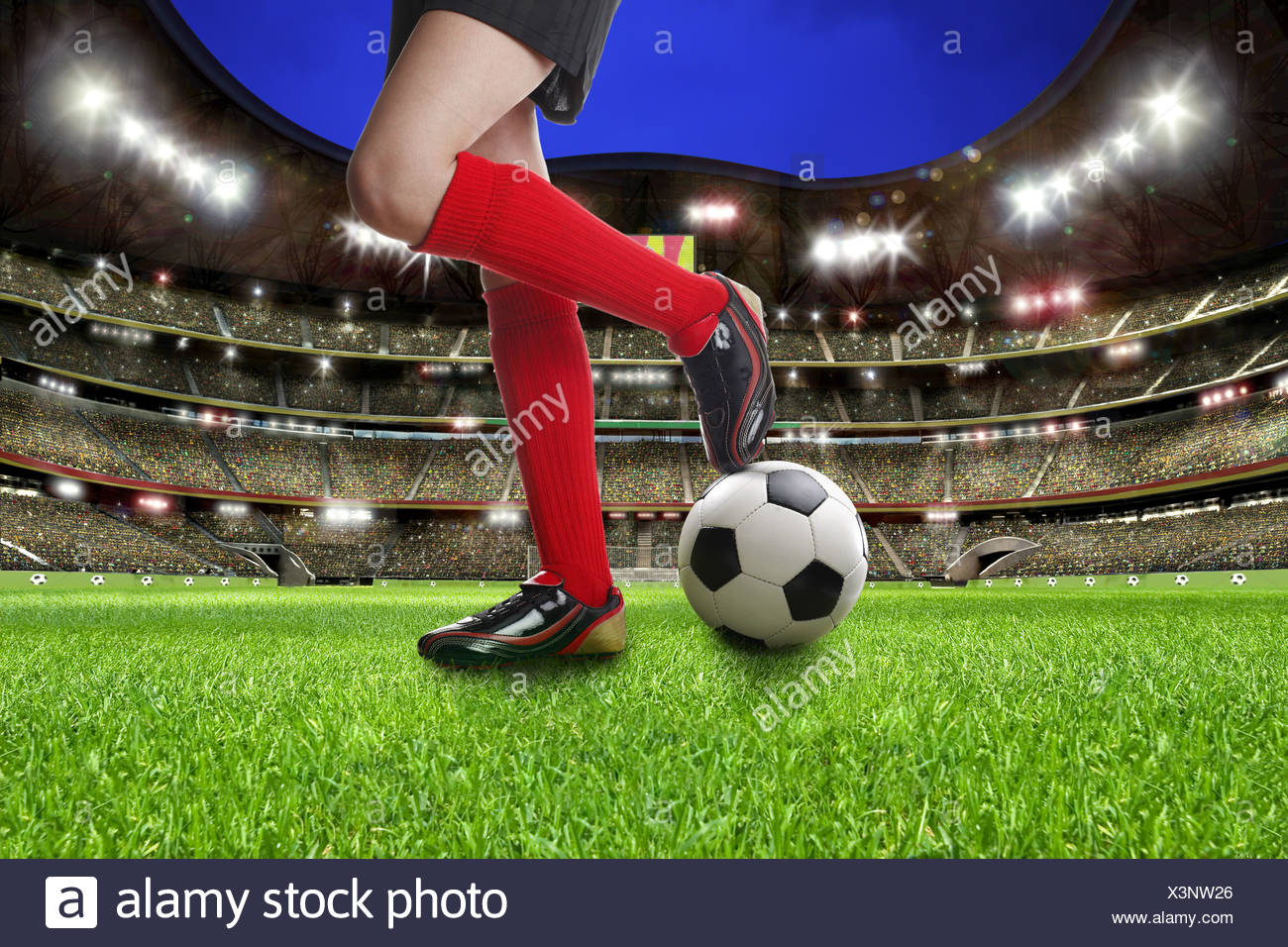 Legs of a female soccer player on a soccer ball at a football stadium, illustration - Stock Image