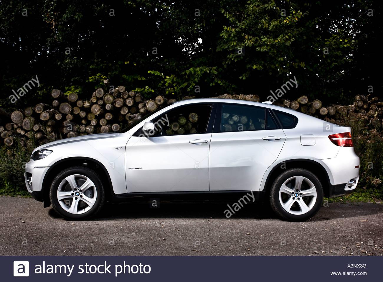 Silver BMW X6 crossover utility liftback - Stock Image