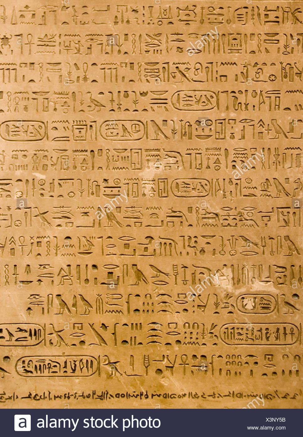 art stone egypt ancient egyptian hieroglyph plate tutankhamun archaelogy egyptology pharaon - Stock Image