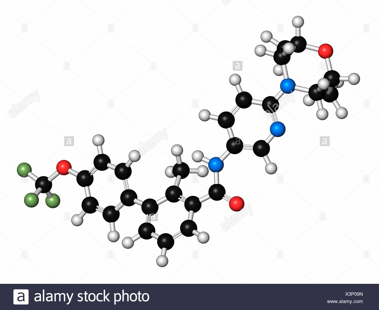 Sonidegib cancer drug molecule. Atoms are represented as spheres with conventional colour coding: hydrogen (white), carbon (black), oxygen (red), nitrogen (blue), fluorine (light green). - Stock Image