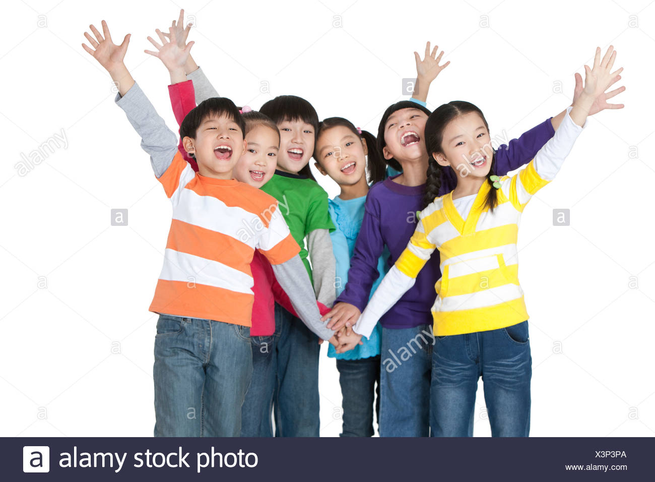 Excited friends bonding Stock Photo