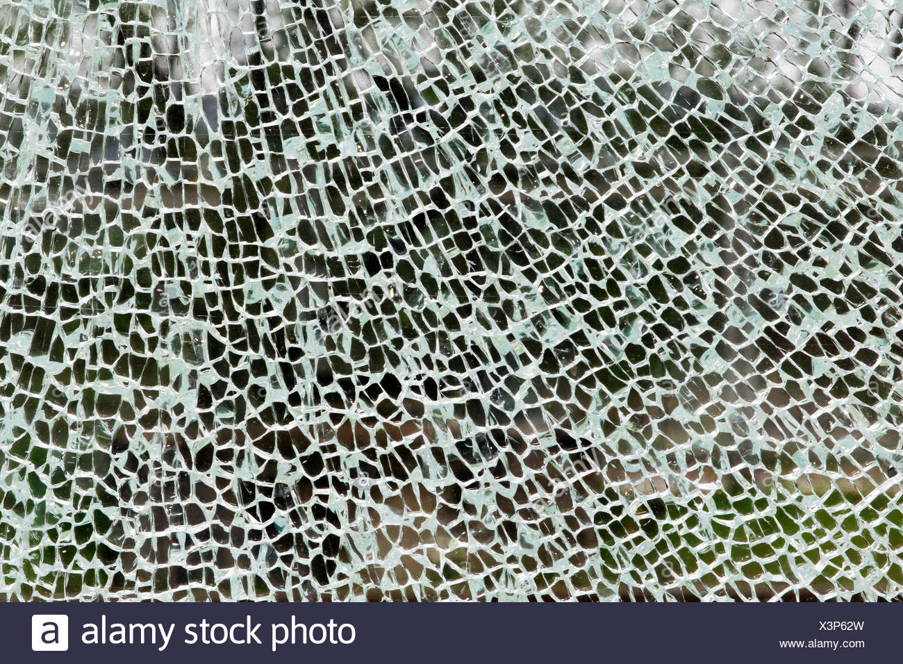 security glass broke after a forceful impact, Ruhr Area, Essen - Stock Image