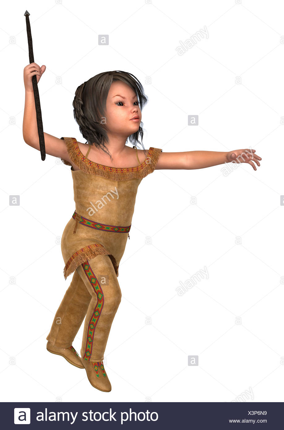 3D digital render of a cute little girl in an indiana costume holding a spear isolated on white background  sc 1 st  Alamy & 3D digital render of a cute little girl in an indiana costume ...