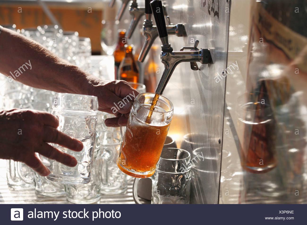 Beer taps, Brauereigasthof Krug, brewery, restaurant, Breitenlesau, Waischenfeld, Franconian Switzerland, Upper Franconia - Stock Image