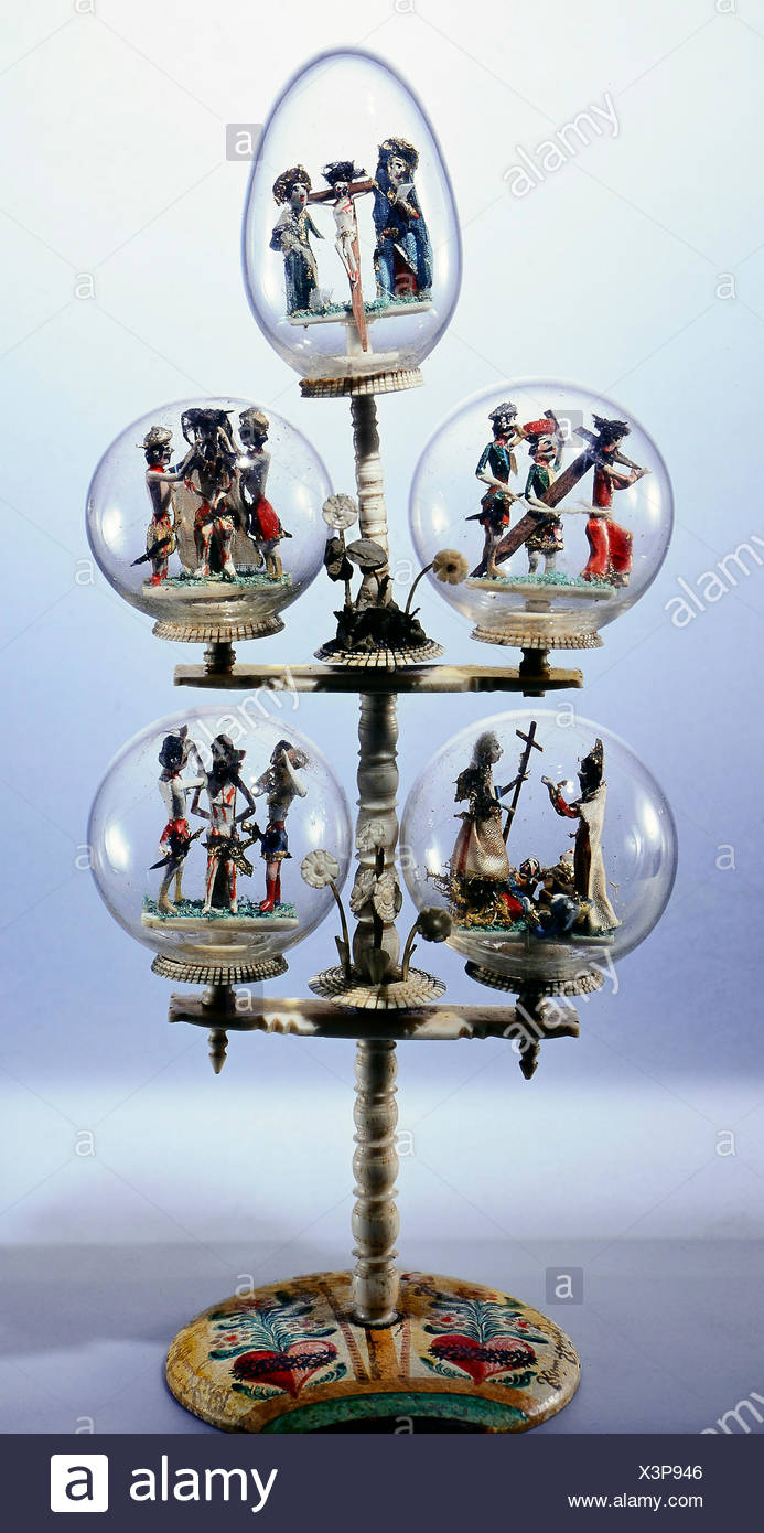 fine arts, folk art, balls in style of impossible bottles with scenes of the way of the cross, glass, bone, wood, 18th century, Berchtesgaden, Bavarian National Museum, Munich, Artist's Copyright has not to be cleared - Stock Image