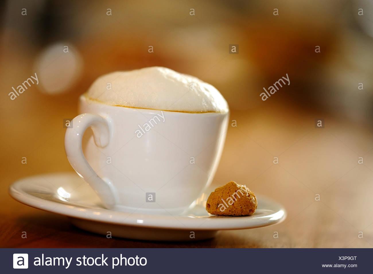 milk foam landscape format cappuccino - Stock Image