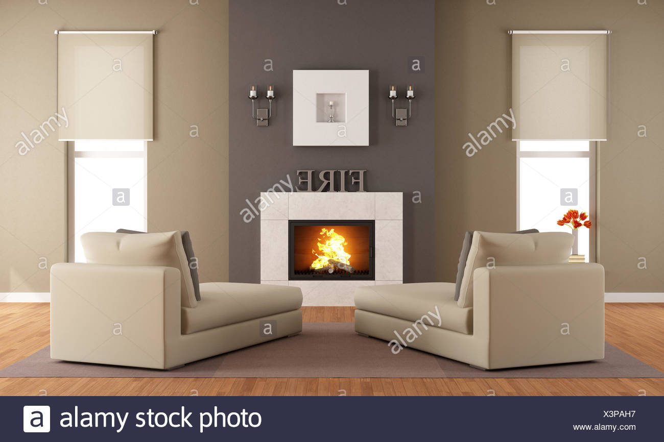 Contemporary living room with fireplace ant two long chair ...