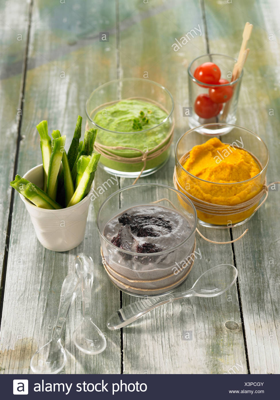 Selection of dip sauces - Stock Image