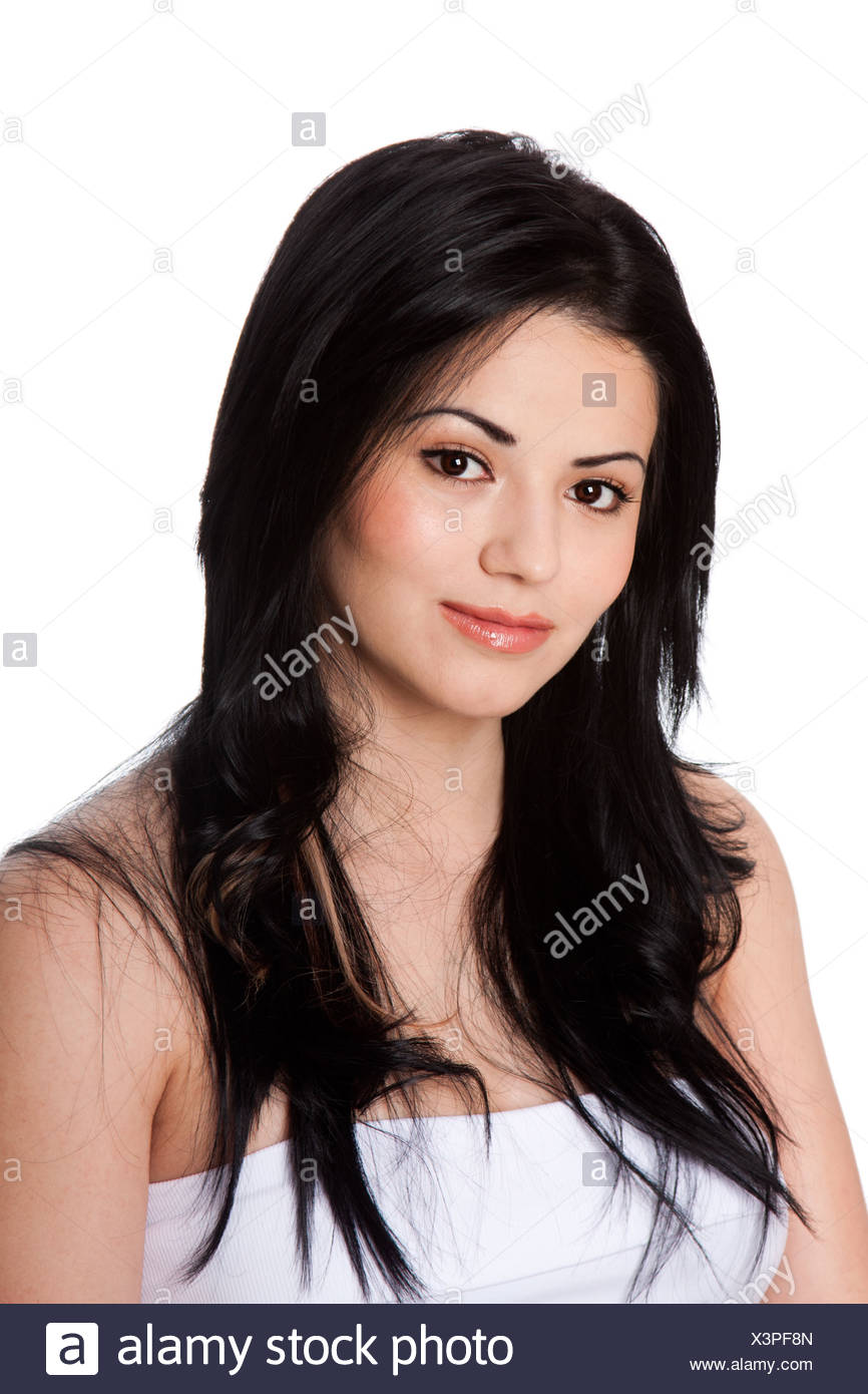 Beautiful attractive young woman with perfect fair skin and long black hair, isolated. - Stock Image
