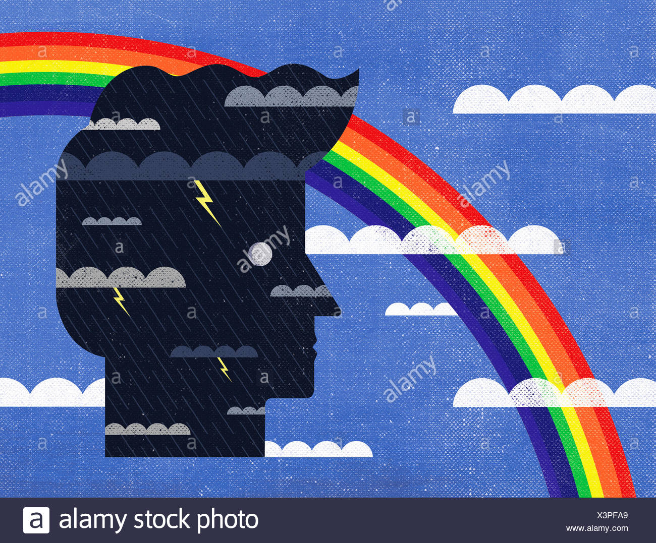 Contrast between sunny blue sky and storm inside of man's head - Stock Image
