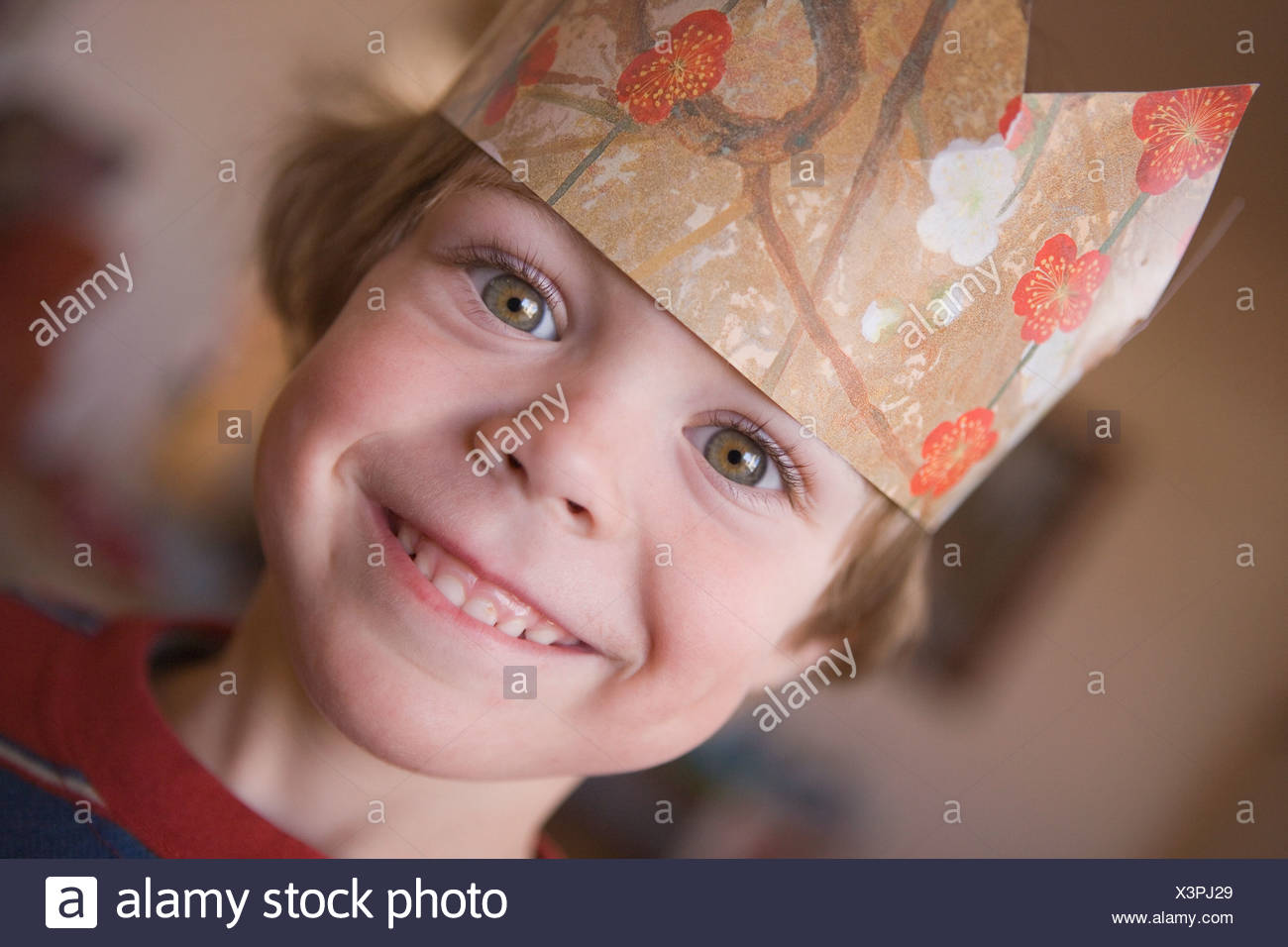 d9012a6e00ca5 Young boy wearing paper crown Stock Photo  277706977 - Alamy