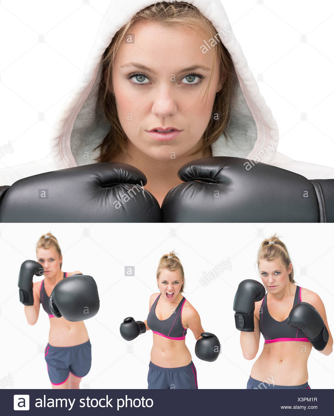 Collage of a woman boxing - Stock Image
