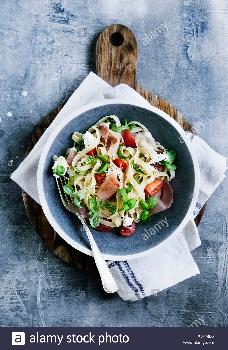 Plate of pasta with vegetables - Stock Image