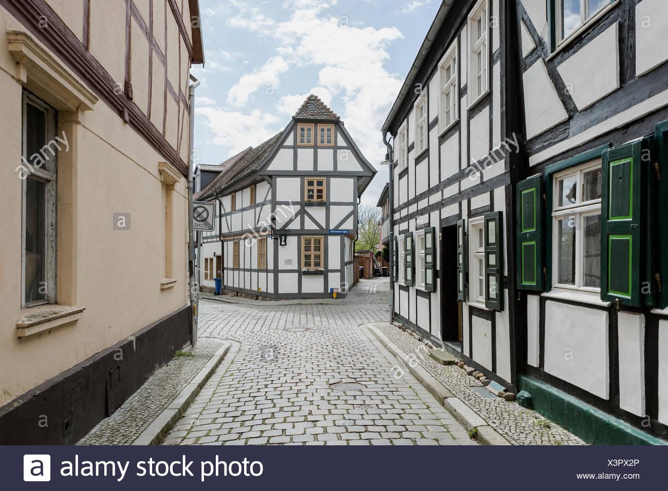 Tangermünde, Sachsen-Anhalt, Deutschland, Hansestadt, Gassen - Stock Image