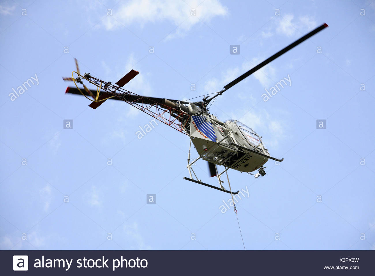 Cloudy skies, costs helicopters, from below, helicopter, helicopter, fly, helicopter flight, costs, transport, transport flight, helicopter entry, charge, loading, Zubringung, airway, perspective, Stock Photo