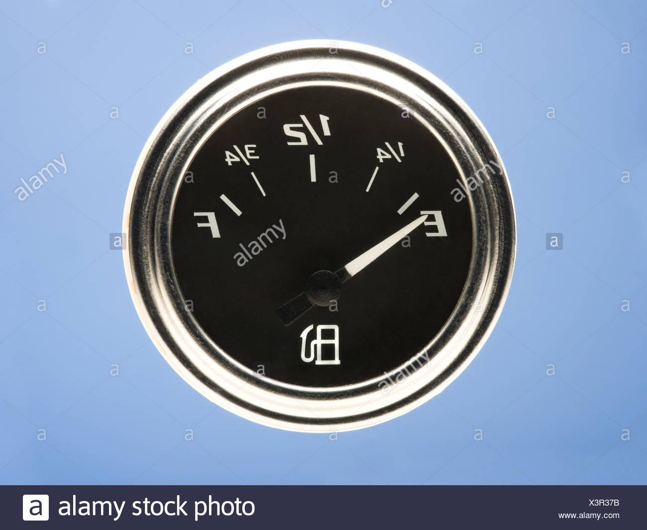 gas guage on empty - Stock Image