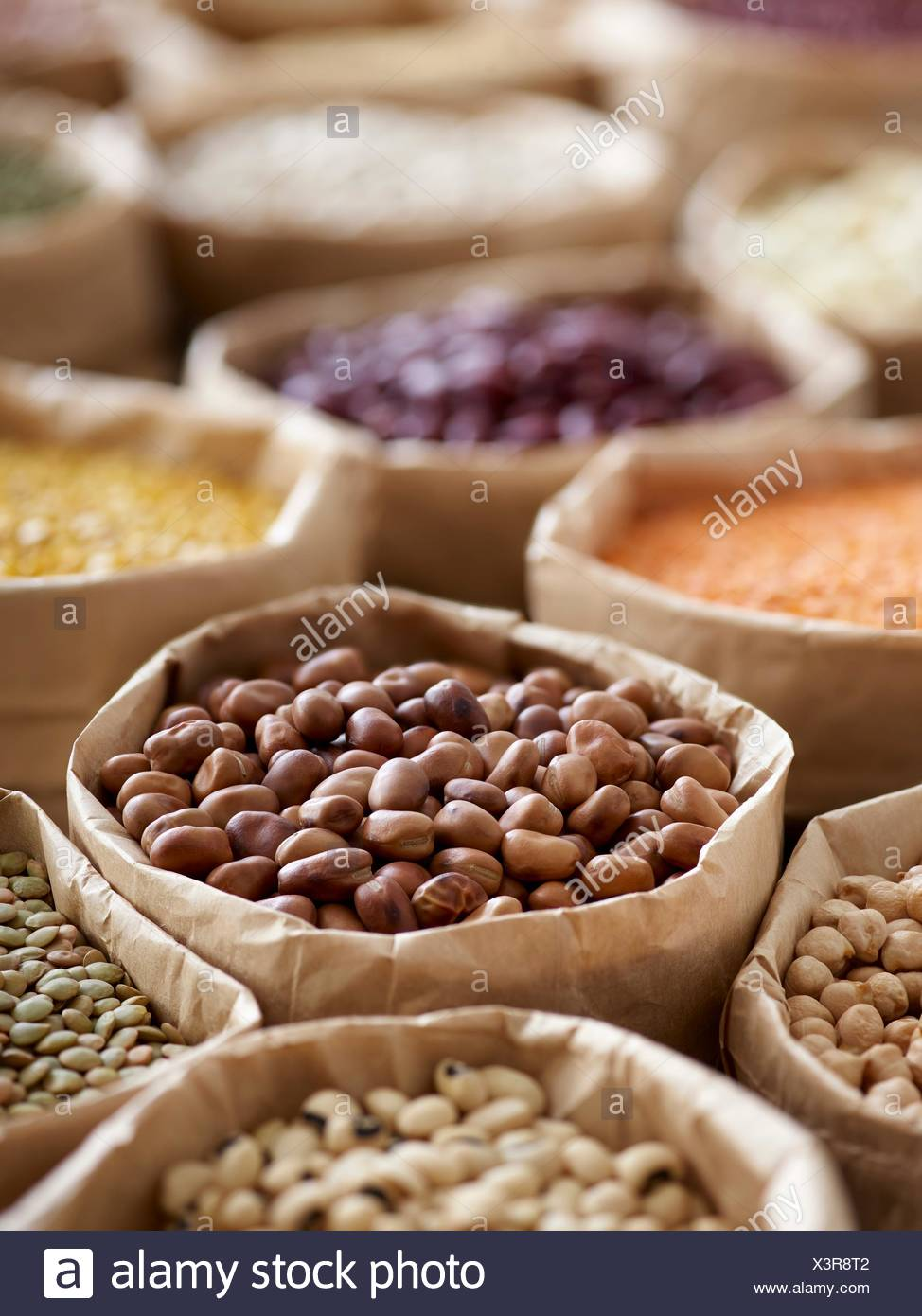 Pulses in paper bags. - Stock Image