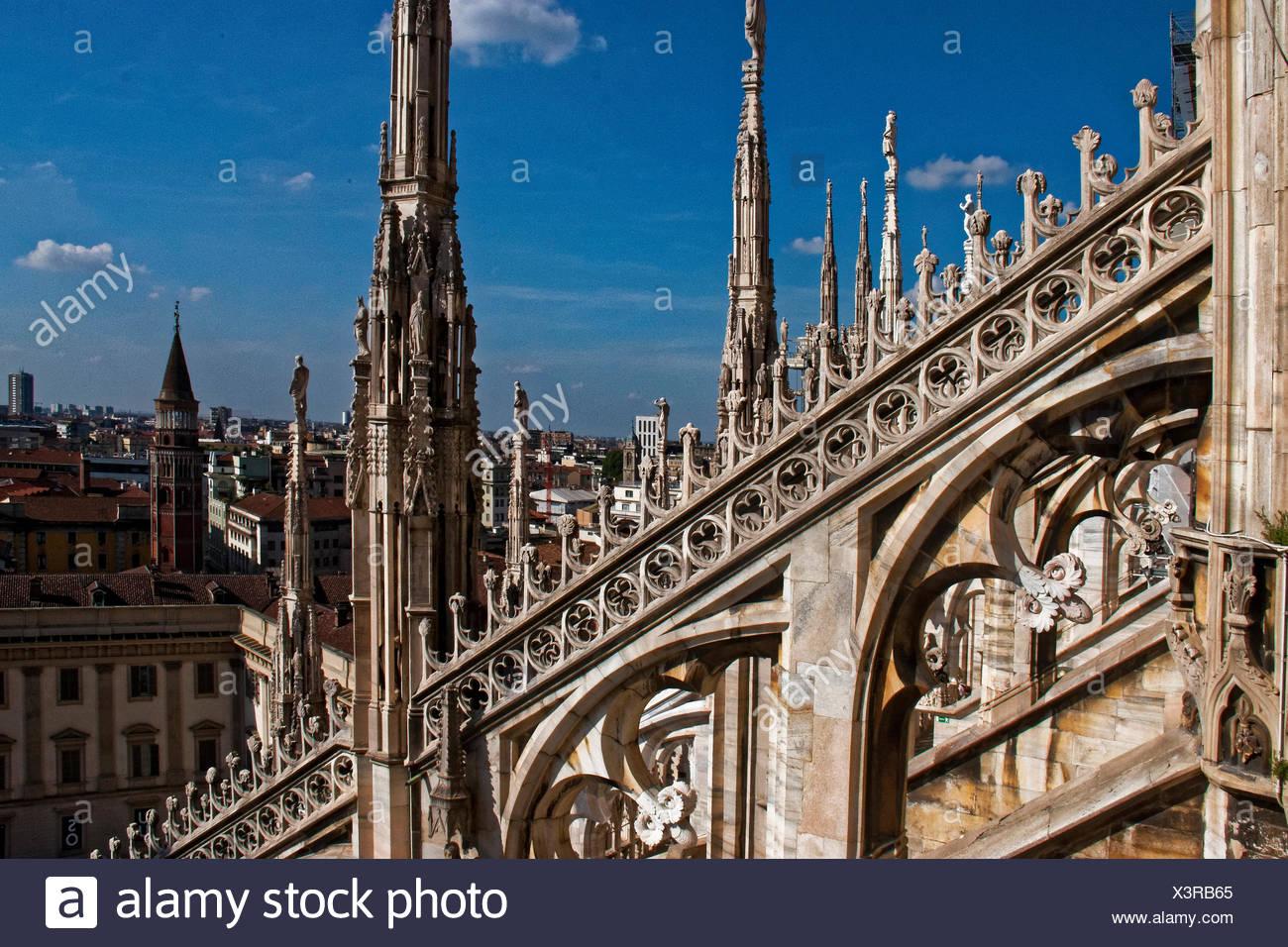 Milano duomo spires - Stock Image