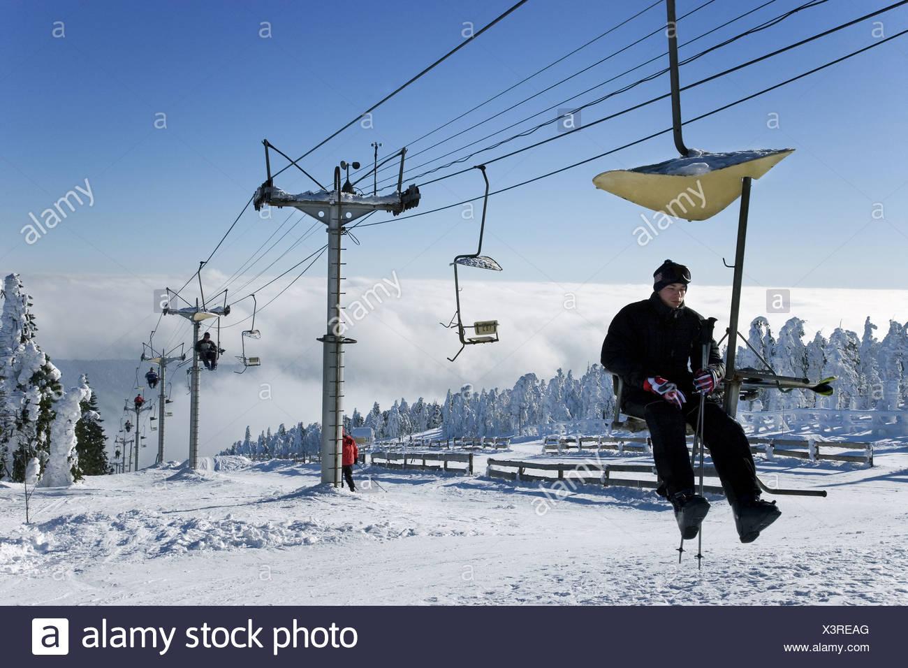 Klinovec 1244 m Ski Area Klinovec Ski Slope and Ski Tow Klinovec Jachymov  Skier Ore Mountains CR