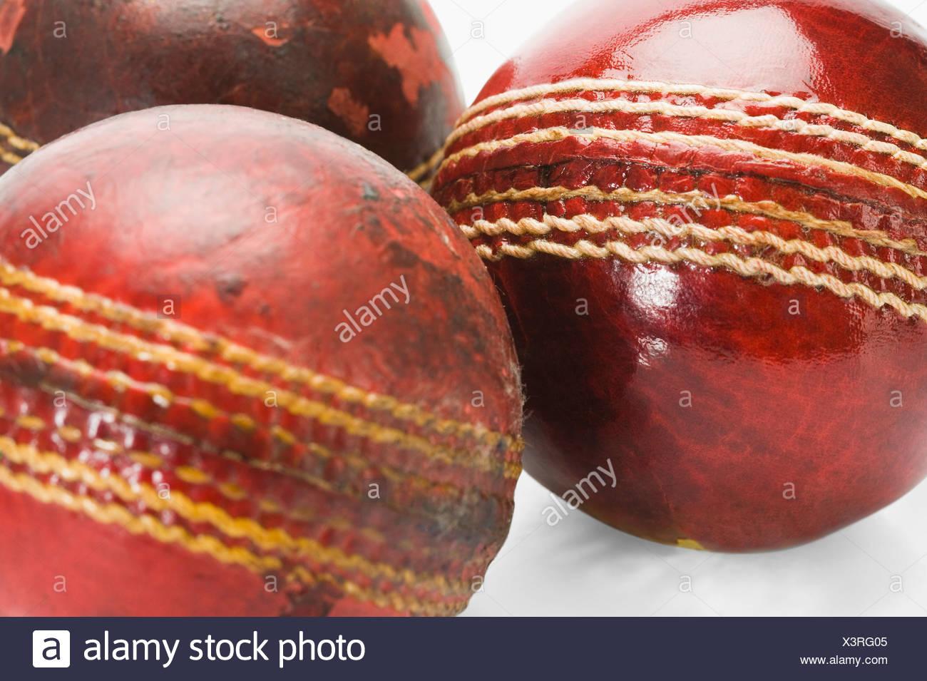 Cork Ball Cricket Bat: Old Cricket Ball Red Stock Photos & Old Cricket Ball Red