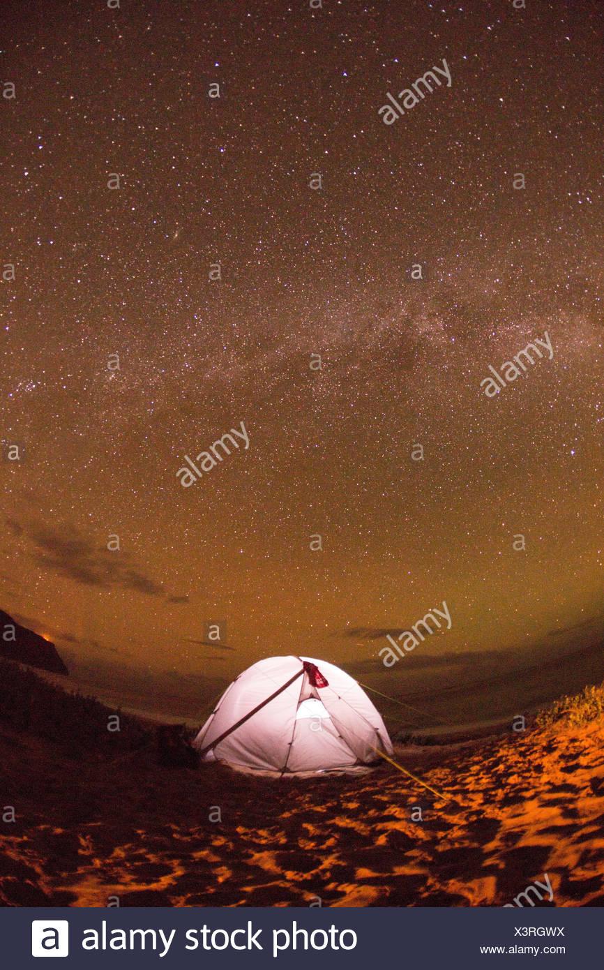 Kauai,camping,Kauai,star sky,stars,evening,Astro,USA,Hawaii,America, - Stock Image