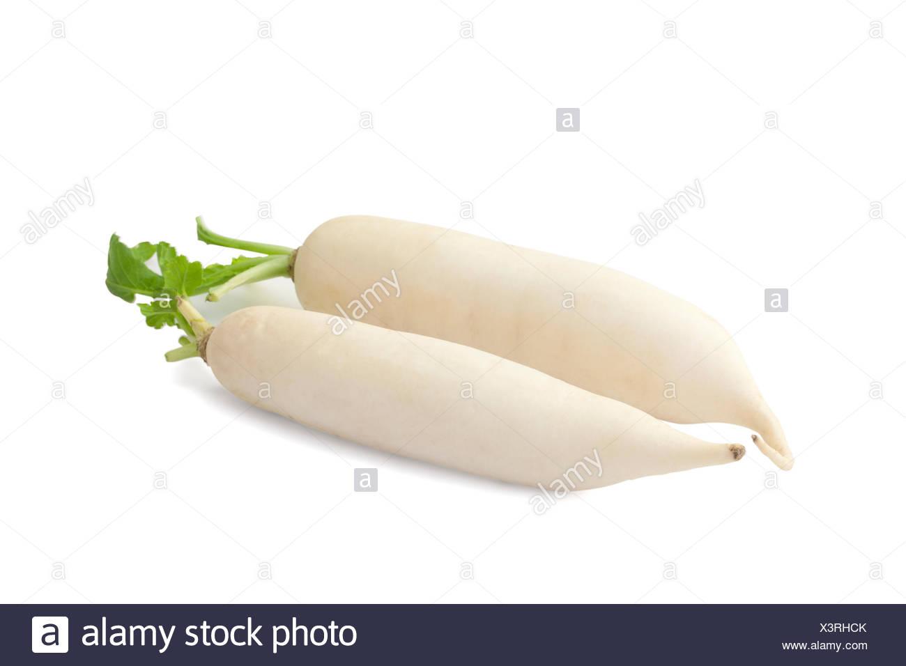 Daikon radish isolated on white background with path - Stock Image