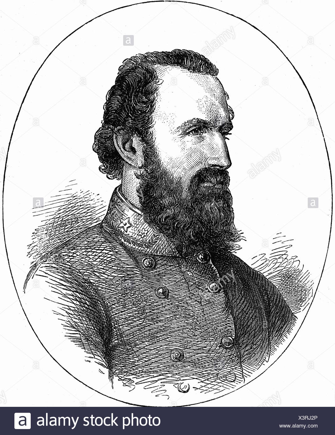 Jackson, Thomas 'Stonewall', 21.1.1824 - 10.5.1863, American General, portrait, wood engraving, 19th century, , Additional-Rights-Clearances-NA - Stock Image