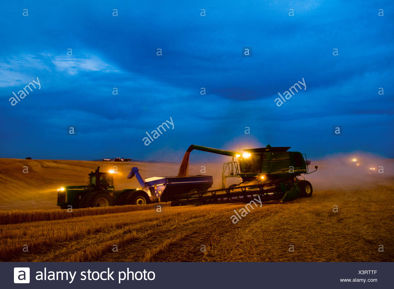 """A John Deere combine harvests wheat while unloading to a grain cart """"on-the-go"""" on an early overcast evening / Washington, USA. - Stock Image"""