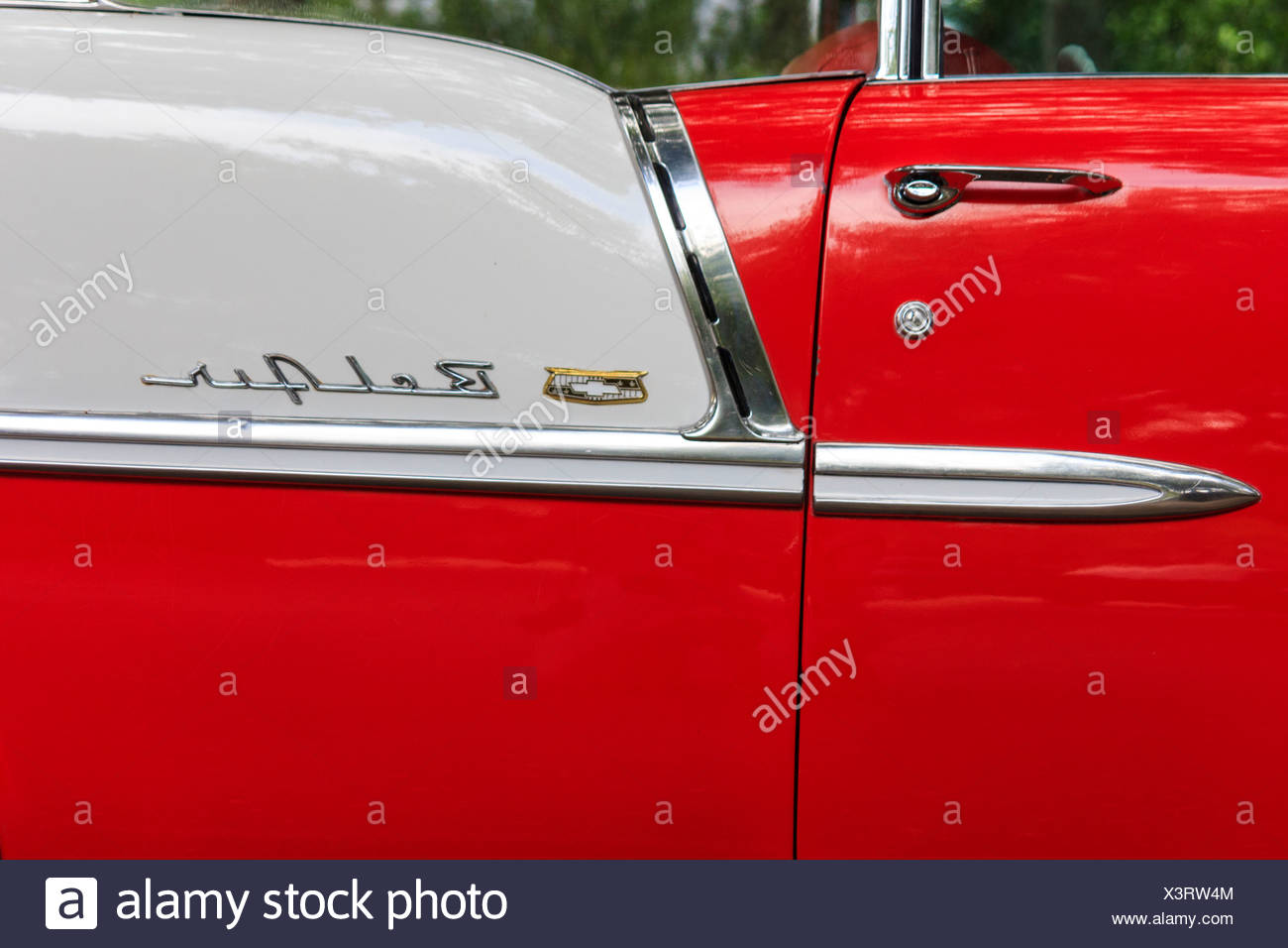 1955, Classic car, Chevrolet, Bel Air, General Motors, New Braunfels, old car, red, white, Texas, USA, United States, America, v - Stock Image