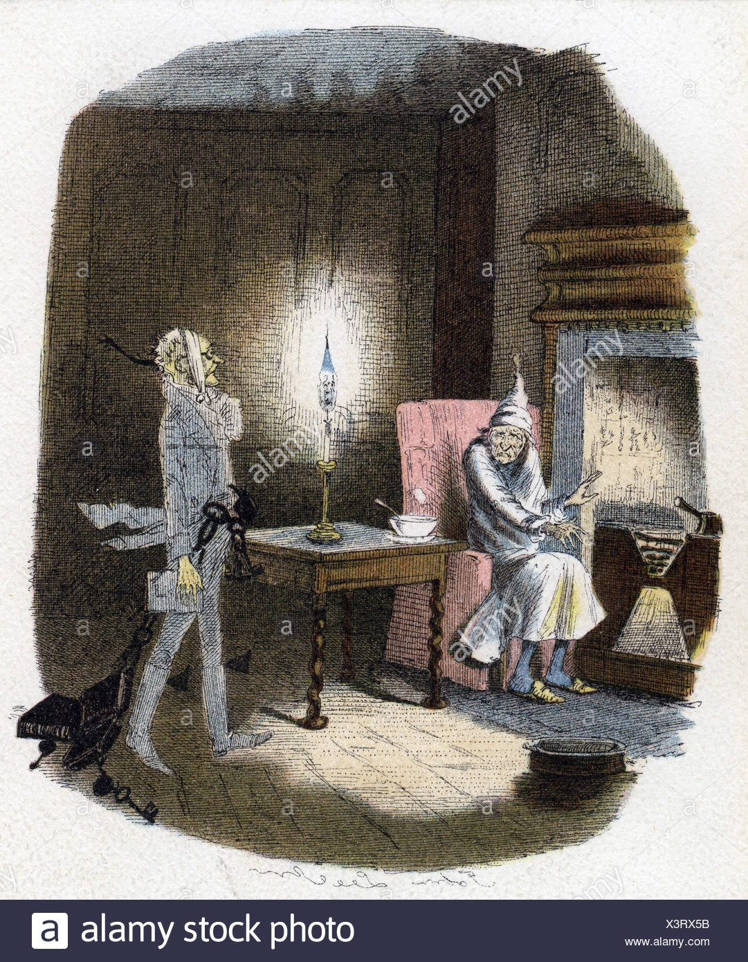 Dickens, Charles, 7.2.1812 - 9.7.1878, British author / writer, scene out of his novel 'Christmas Carol', Marley's ghost, illustration by John Leech, 1943, Artist's Copyright must also be cleared - Stock Image